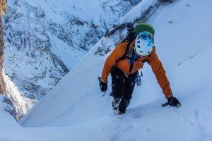 Climbing on low-angle snow