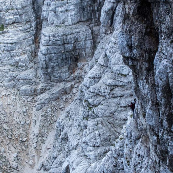 Climbing a harder variation of Slovenian route