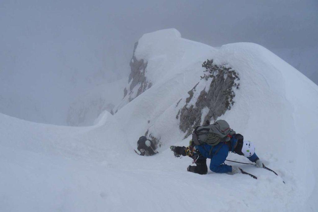 Climbing on snow
