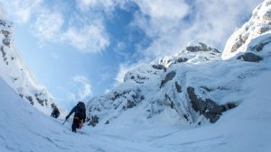 Climbing up the snow gully