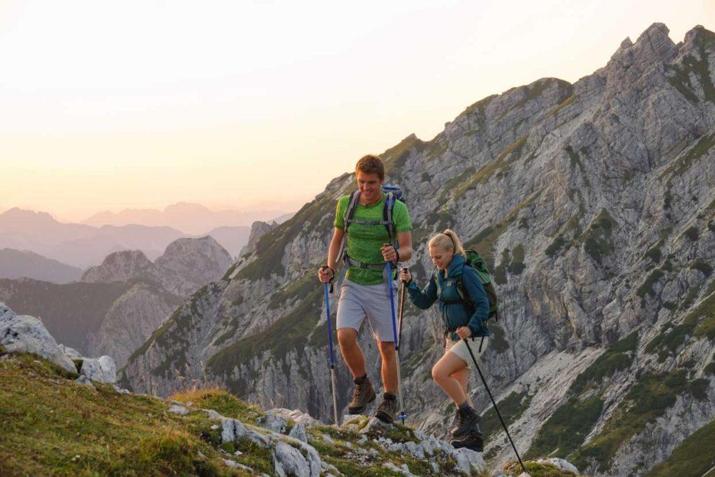 Couple hiking in Julian Alps