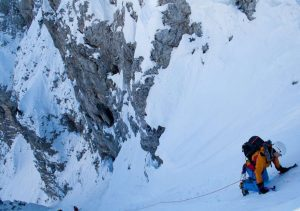 Guiding on snow gully