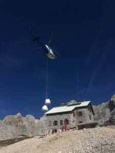 If we are lucky we get to see helicopter supplying the hut
