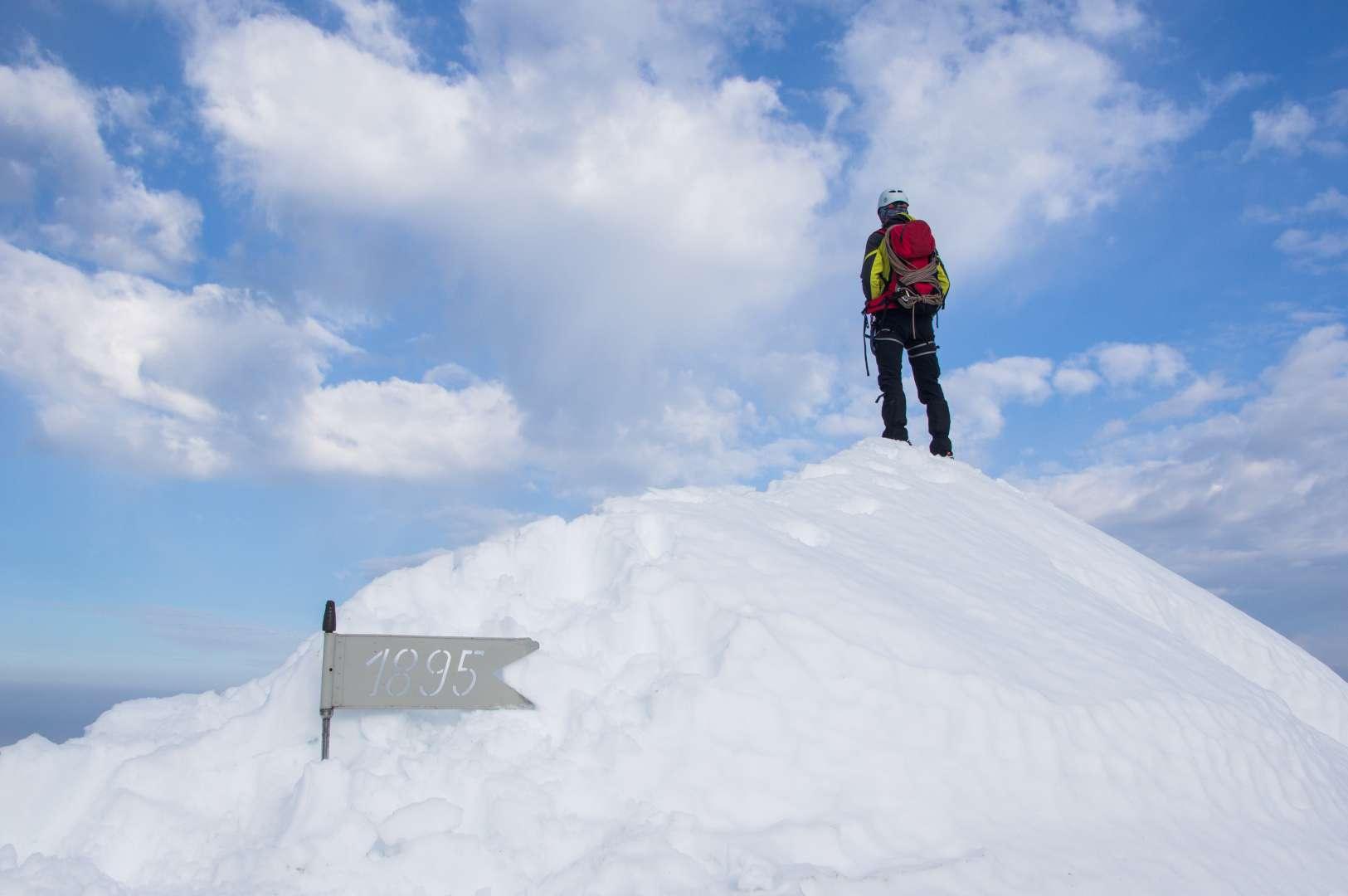 The summit of Triglav in winter