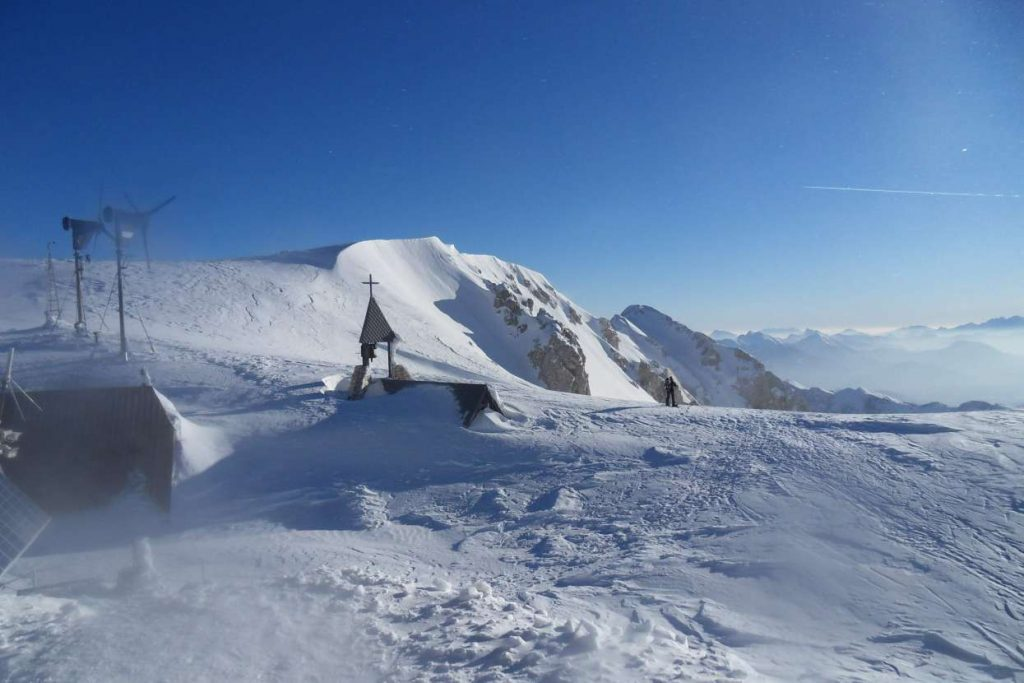 View from Kredarica lodge in winter