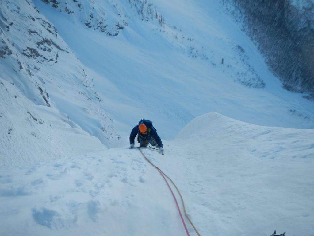 Winter climbing on Triglav north face