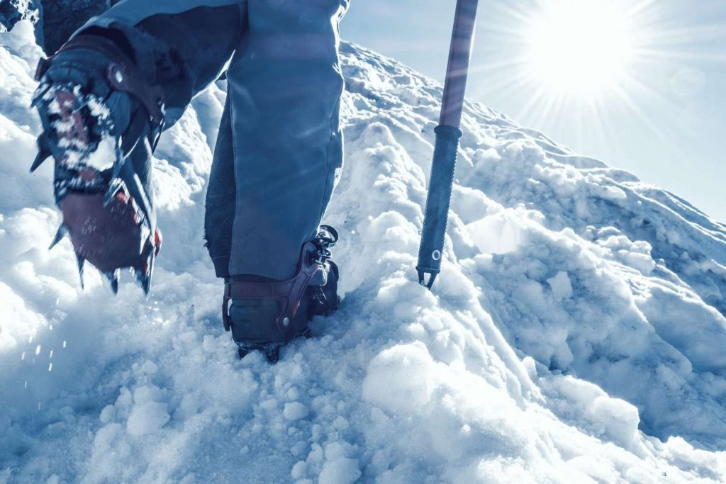 close up crampons and ice axe